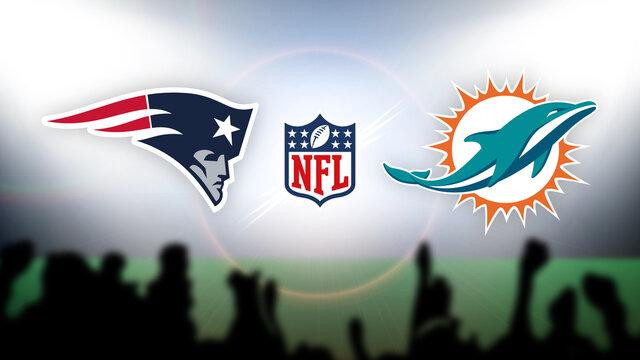 NFL New England Patriots vs Miami Dolphins vector illustration.
