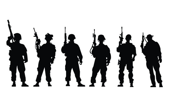 Soldiers silhouette Icons.For your design .Vector EPS10.