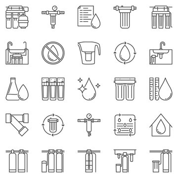 Water Treatment outline icons - vector filter vector signs