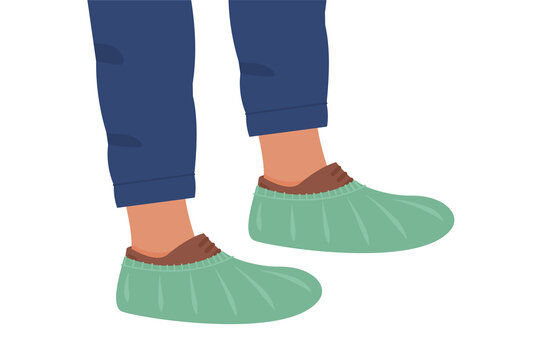 Disposable Shoes Covers on boots. Notice for clinic or hospital. Banner or Poster Wear Shoe Covers. Flat vector illustration isolated on white.