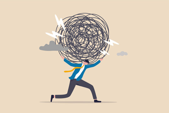 Stress burden, anxiety from work difficulty and overload, problem in economic crisis or pressure from too much responsibility concept, tried exhausted businessman carrying heavy messy line on his back