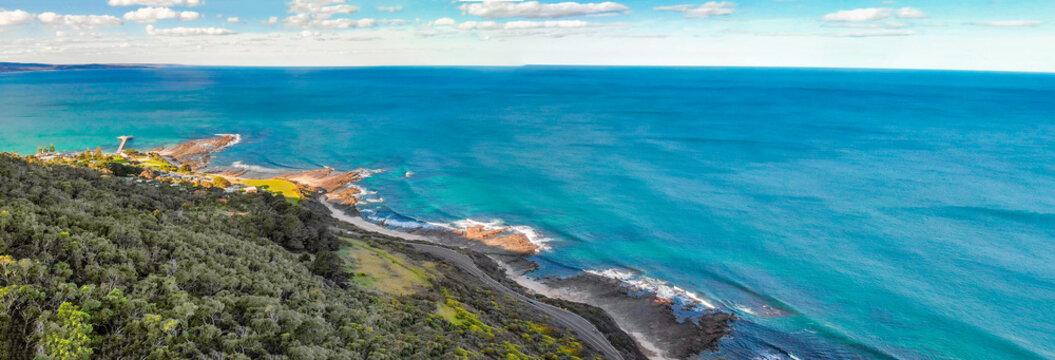 Coastline of Lorne along the Great Ocean Road, Australia. Panoramic aerial view