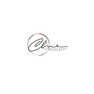 CL Initials handwritten minimalistic logo template vector
