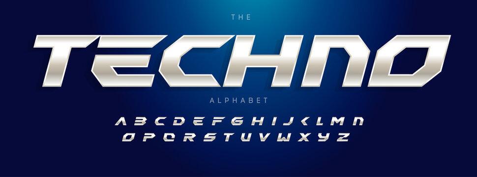 Techno Futurism alphabet, slant modern font. Steel type for modern tech logo, headline of game, car, speed auto race typography. Sport dynamic letters design, vector typographic design