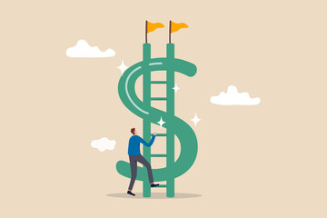 Money ladder to achieve financial independent goal, challenge to reach investment target or wealth planning strategy concept, businessman starting to climb up ladder to the top of money dollar sign.