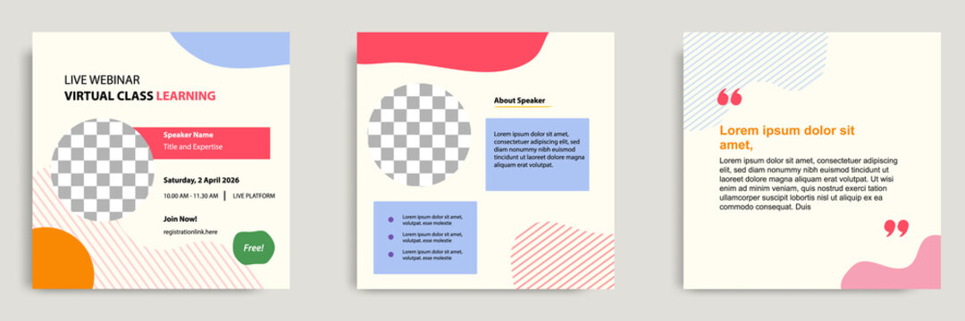 Set bundle collection colorful abstract background of social media post template. Layout for online live webinar, conference, training, seminar, course, and learning video.