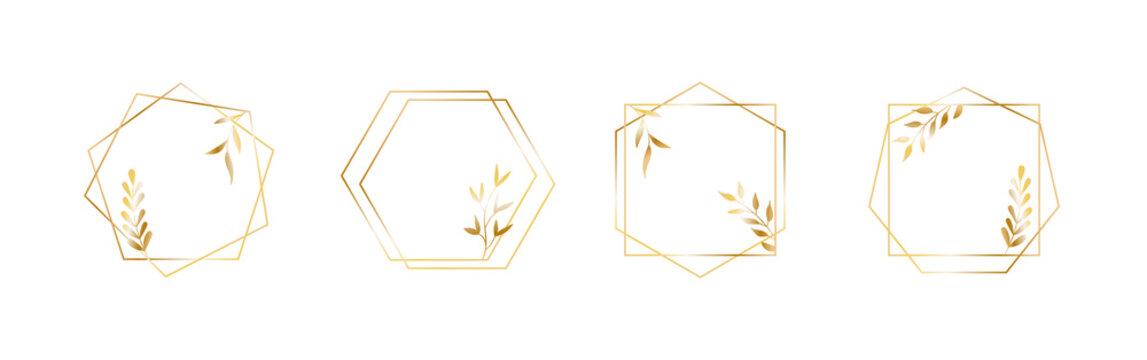 Golden geometric vector frames with leaves. Thin line haxagon borders for luxury premium design