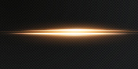 Obraz Gold horizontal lens flares pack. Laser beams, horizontal light rays. Beautiful light flares. Glowing streaks on light background. Luminous abstract sparkling lined background. - fototapety do salonu