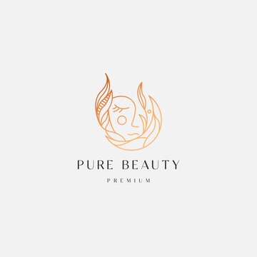 Moon woman floral gradient line style logo icon design template. Elegant, luxury, beauty, cosmetic product, spa, flat modern vector illustration