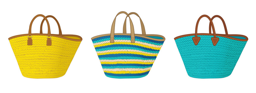 Set of straw bags with different handles, colorful tote bag, summer beach bag vector illustration