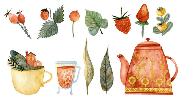 Watercolor set of hand painted strawberries and green leaves. Large set of watercolor elements for a tea party.