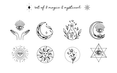 Obraz Collection of magic & mystical elements illustrations for Planner, Journal, Web design in hand drawn style. - fototapety do salonu