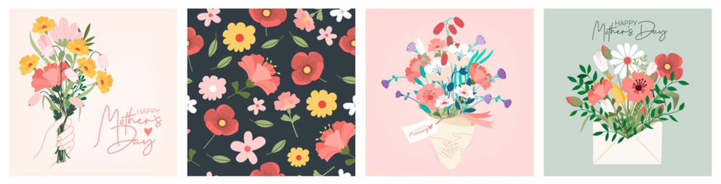 Happy Womens Day March 8 Cute cards and posters for the spring holiday. Vector illustration of a date, a women and a bouquet of flowers