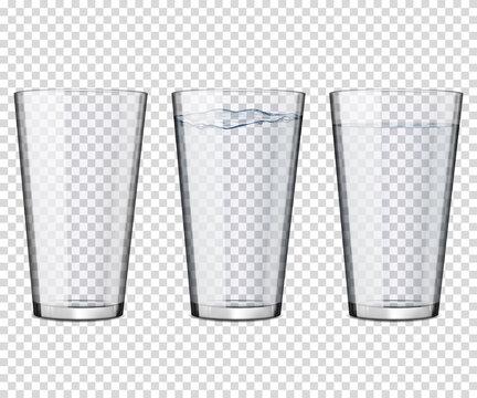 Set of transparent glasses with water and empty, isolated.
