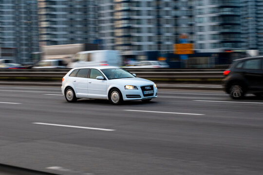 Ukraine, Kyiv - 11 March 2021: Silver Audi A3 car moving on the street. Editorial