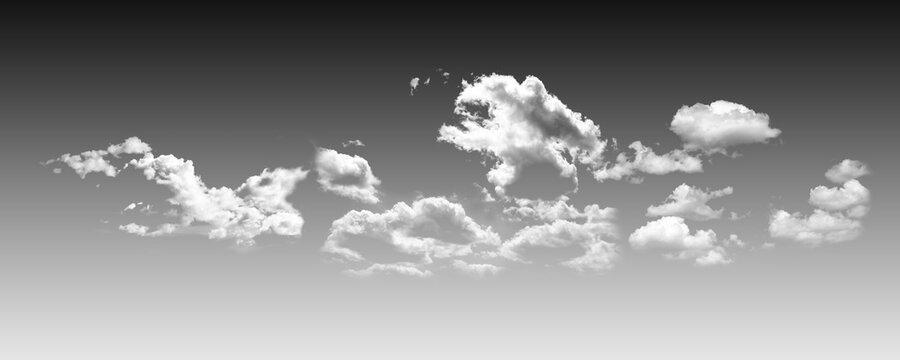 White fluffy clouds on a black sky background. Illustration