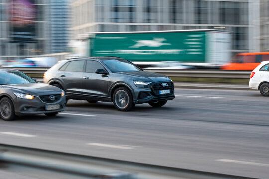 Ukraine, Kyiv - 11 March 2021: Gray Audi Q8 car moving on the street. Editorial