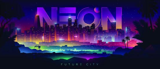 Colorful neon futuristic night city. Cyberpunk and retro wave style illustration