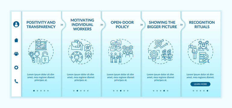 Strategies of staff motivation onboarding vector template. Encouraging employees for better work. Responsive mobile website with icons. Webpage walkthrough step screens. RGB color concept