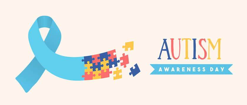 Autism awareness day puzzle ribbon game banner