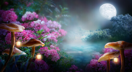 Fototapeta Fantasy mushrooms with lanterns in magical enchanted fairy tale landscape with forest lake, fabulous fairytale blooming pink rose flower garden on mysterious background, glowing moon ray in dark night obraz