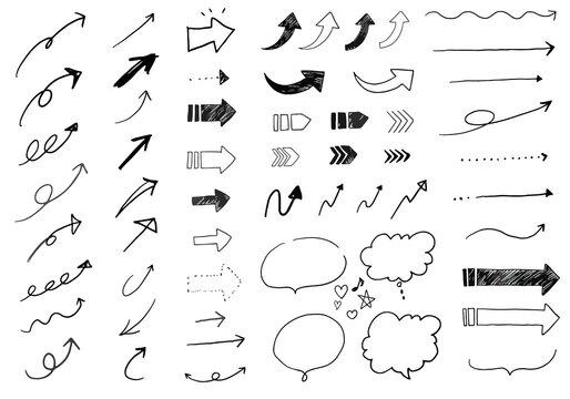 様々な種類の矢印の手書きベクターイラスト素材