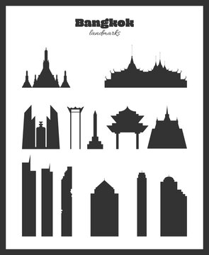 Bangkok landmarks. Black silhouettes on a white background. Vector  illustration. Each building is a separate object, straight lines are aligned by pixels.