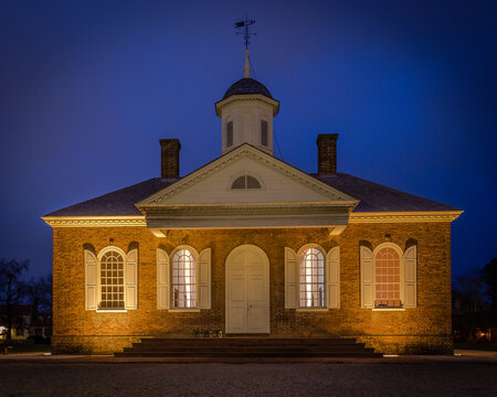 The old courthouse on Market Square dates to the eighteenth century and played a central role in the life of the colonial community in Williamsburg, VA