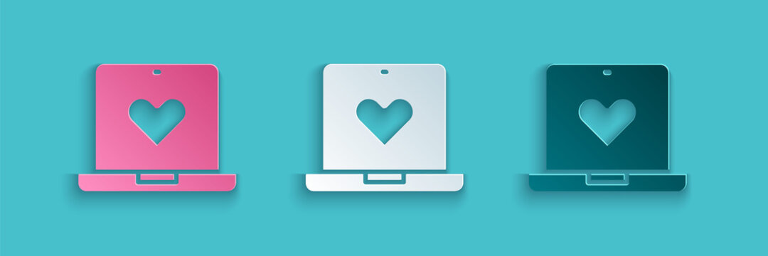 Paper cut Dating app online laptop concept icon isolated on blue background. Female male profile flat design. Couple match for relationship. Paper art style. Vector