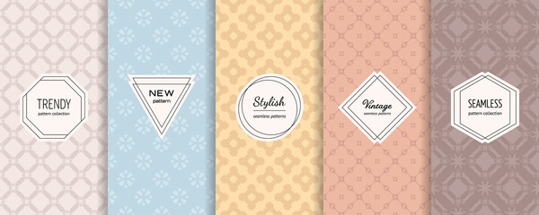 Floral geometric seamless patterns. Vector set of stylish pastel backgrounds with elegant minimal labels. Abstract modern ornament textures. Trendy nude color palette. Design for print, decor, package