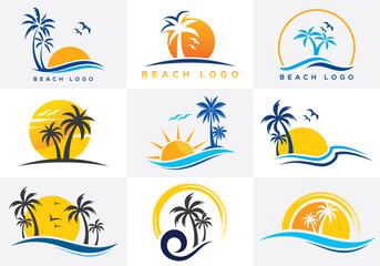 Obraz Beach and island logo design, vector design template of beach icons - fototapety do salonu