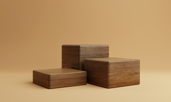 Three brown wooden rectangle cube product stage podium on orange background. Minimal fashion theme. Geometry exhibition stage mockup concept. 3D illustration rendering graphic design