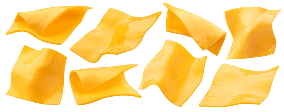 Slices of processed cheese isolated on white background