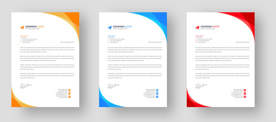 Obraz corporate modern letterhead design template set with yellow, blue  and red color. creative modern letter head design templates for your project.  - fototapety do salonu