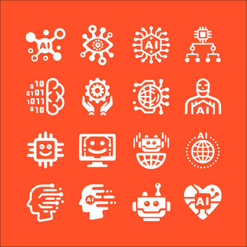 icon set of artificial intelligence vector icons collection of symbol, logo, pictogram linear flat simple ui stroke sign hand drawn lined graphic design