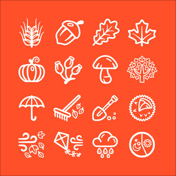 icon set of autumn line, outline vector icons collection of symbol, logo, pictogram linear flat simple ui stroke sign hand drawn lined graphic design