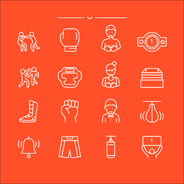 icon set of boxing in thin line, outline style vector icons collection of symbol, logo, pictogram linear flat simple ui stroke sign hand drawn lined graphic design