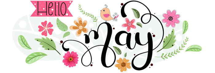 Fototapeta Hello May. MAY month vector with flowers, birds and leaves. Decoration floral. Illustration month may obraz