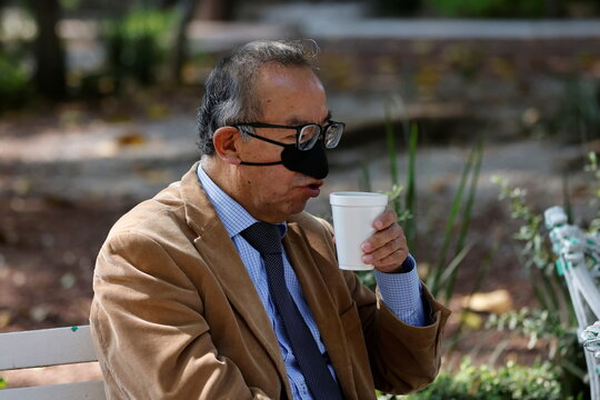 Mexican scientist Gustavo Acosta Altamirano shows his new innovation, a nasal mask as a measure to protect against the coronavirus disease (COVID-19) transmission in Mexico City