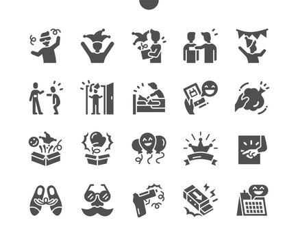April Fools Day. International day. Shocking gum. April prank. Whoopie cushion toy. Vector Solid Icons. Simple Pictogram