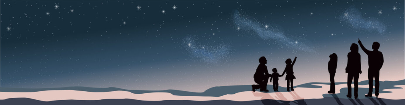 Banner Star scene night sky with silhouette people telescope looking at space
