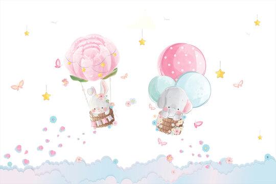 Cute animals on hot air balloons