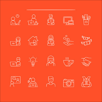 icon set of freelance in thin line, outline style vector icons collection of symbol, logo, pictogram linear flat simple ui stroke sign hand drawn lined graphic design