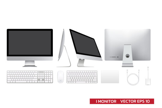 Display monitor mockup with accessories , keyboard, mouse, track pad, usb cable adapter, realistic vector illustration for mockup graphic,all in one display on white background.