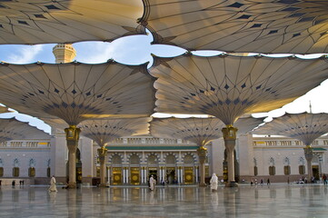 Large size canopy of the Holy Prophet's Mosque in Medina, Saudi Arabia.