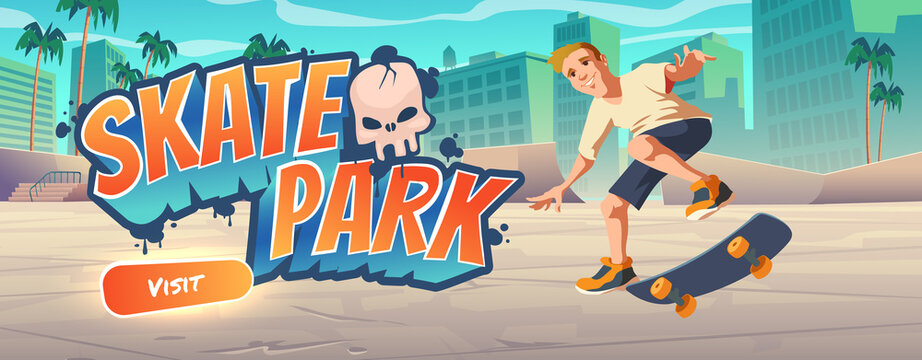 Skate park cartoon landing page with teenager