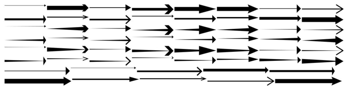 Black arrows pointing right. Arrow shape element set