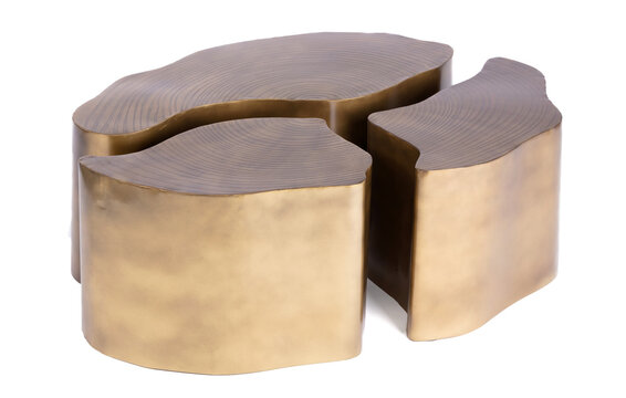 Modern copper table isolated