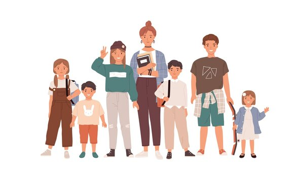 Portrait of happy children and teenagers. Group of modern boys and girls of different ages standing together. Flat vector illustration of sisters and brothers isolated on white background