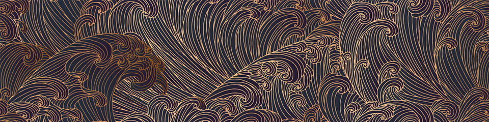 Line art design of waves, mountain, modern hand-drawn vector background, gold ink pattern. Minimalist Asian style.